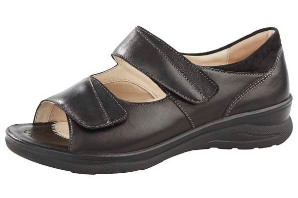 Fidelio Jilly J - zwart hallux valgus schoen -sandaal - binnenschoen - uitneembare zool - comfortschoen - FeetinMotion